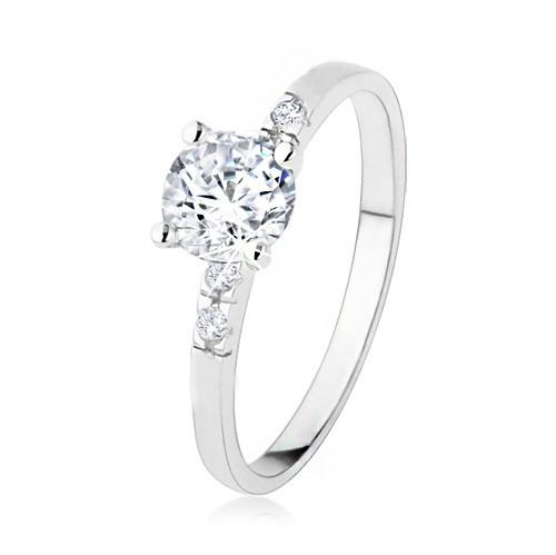 Zásnubný strieborný prsteň 925, číry zirkón, trblietavé kamienky, vrúbkovanie - Veľkosť: 57 mm