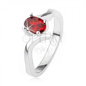 Elegantný prsteň zo striebra 925, rubínovočervený zirkón, zvlnené ramená