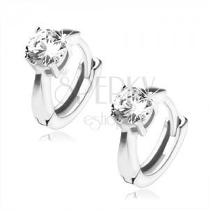 Lesklé strieborné náušnice 925 - krúžky, číry okrúhly kameň, obdĺžnikové výrezy