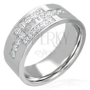 Oceľový prsteň so zirkónmi a nápisom LOVE