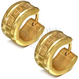 Okrúhle náušnice z chirurgickej ocele zlatej farby, motív gréckeho kľúča