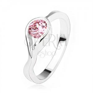 Strieborný zásnubný prsteň 925, okrúhly ružový zirkón, zatočené ramená
