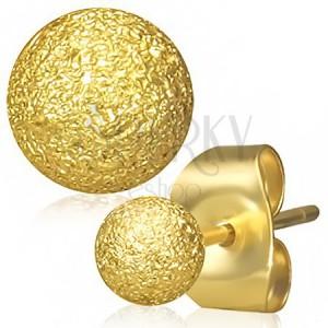 Oceľové náušnice zlatej farby, guličky s pieskovaným povrchom, puzetky