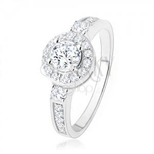 Strieborný zásnubný prsteň 925, číre zirkónové slnko, ligotavé kamienky