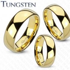 Tungstenová obrúčka zlatej farby, lesklý a hladký povrch, 6 mm