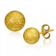 Šperky eshop - Oceľové náušnice, gulička zlatej farby s pieskovaným povrchom, 6 mm U19.17