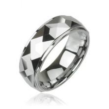 Volfrámový prsteň s vybrúsenými hranatými plochami, vysoký lesk, 8 mm