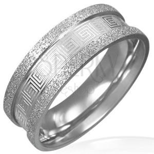 Pieskovaný oceľový prsteň - grécky kľúč