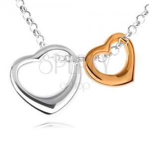 Strieborný 925 náhrdelník - dve kontúry sŕdc v striebornom a zlatom prevedení