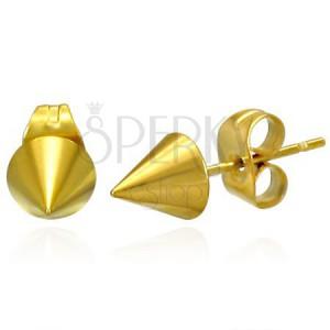 Lesklé náušnice z ocele - ostrý špicatý kužeľ zlatej farby, puzetky