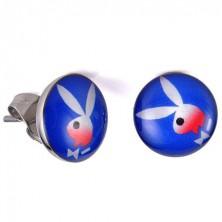 Puzetové náušnice z ocele, glazúrovaná hlavička, zajačik v štýle Playboy
