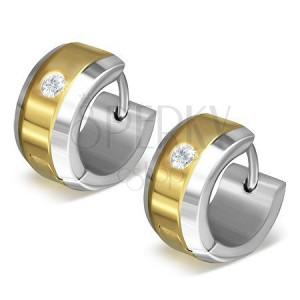Náušnice z ocele 316L v zlato-striebornej farebnej kombinácii, číry zirkón