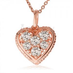 Strieborný 925 náhrdelník, číre zirkónové srdce s vrúbkovaným lemom, medená farba