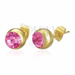 Oceľové náušnice zlatej farby, gulička s ružovým zirkónom, puzetka