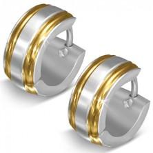 Lesklé oceľové náušnice, strieborná farba, okraje v zlatom odtieni, zárezy