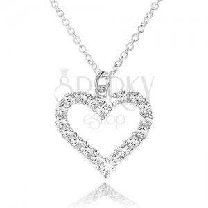 Nastaviteľný náhrdelník zo striebra 925, zirkónová kontúra súmerného srdca