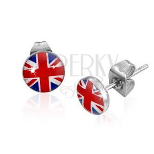 Puzetové náušnice z ocele 316L, hlavička s čírou glazúrou, britská vlajka