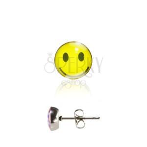 Oceľové náušnice s puzetkou, glazúrovaná hlavička, žltý usmievavý smajlík