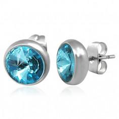 Šperky eshop - Náušnice z ocele, strieborná farba, puzetka, modrý brúsený zirkón, 8 mm SP40.22