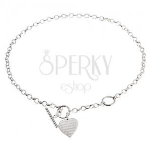 Strieborný náhrdelník 925, ploché súmerné srdce s nápisom - želania