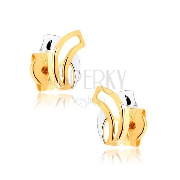 Dvojfarebné zlaté náušnice 375 - dve pretínajúce sa zahnuté línie