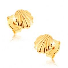 Šperky eshop - Náušnice zo žltého 9K zlata - lesklé morské mušle GG38.03