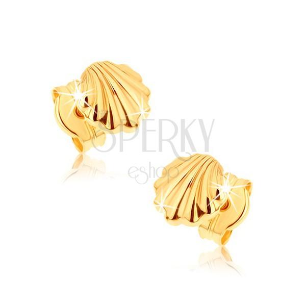 Náušnice zo žltého 9K zlata - lesklé morské mušle ... 72fb3992d76