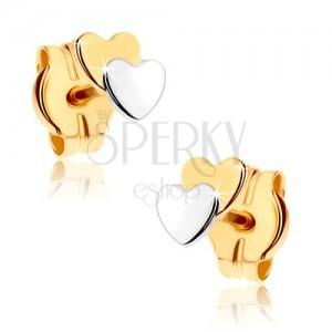 Puzetové náušnice z 9K zlata - dve malé srdiečka, dvojfarebné