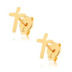 Šperky eshop - Náušnice zo žltého 9K zlata - lesklý latinský krížik GG36.06