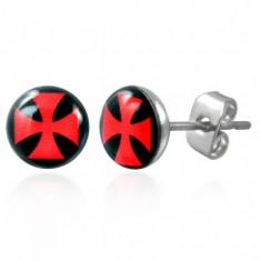 Šperky eshop - Náušnice z ocele, číra glazúra, červený maltézsky kríž na čiernom podklade SP51.10