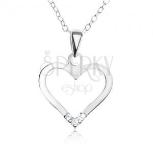 Nastaviteľný náhrdelník - striebro 925, prívesok kontúra srdca, číre zirkóny