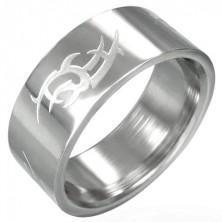 Oceľový prsteň lesklý, matný Tribal symbol