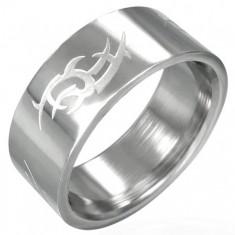 Šperky eshop - Oceľový prsteň lesklý, matný Tribal symbol D13.15 - Veľkosť: 61 mm