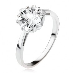 Šperky eshop - Zásnubný strieborný prsteň 925, masívny číry zirkón - hviezdica SP49.09 - Veľkosť: 49 mm