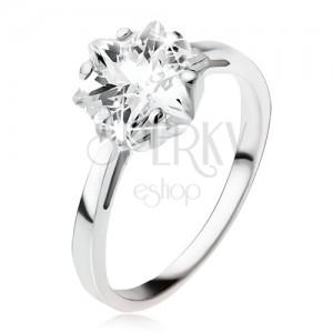 Zásnubný strieborný prsteň 925, masívny číry zirkón - hviezdica