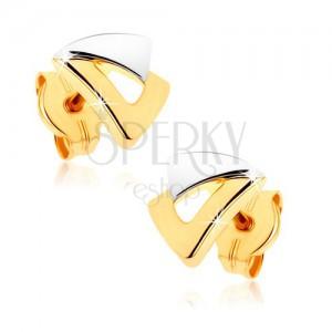 Puzetové náušnice z 9K zlata - dva trojuholníčky v dvojfarebnom prevedení