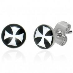 Šperky eshop - Puzetové náušnice z ocele, glazúra, biely maltézsky kríž na čiernom pozadí SP51.18
