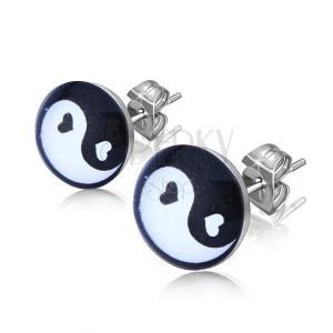 Puzetové náušnice z ocele, čiernobiely symbol Jing a Jang v krúžku