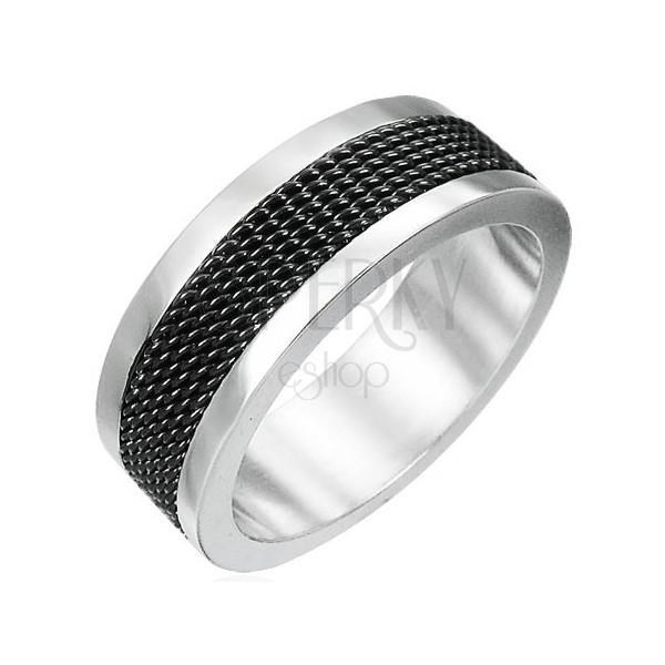 Oceľový prsteň s čiernou sieťovinou