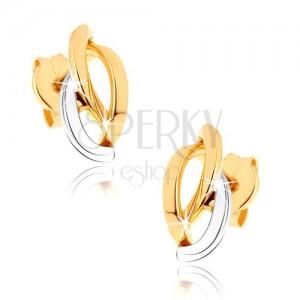 Zlaté ródiované náušnice 375, tri asymetricky usporiadané poloblúky