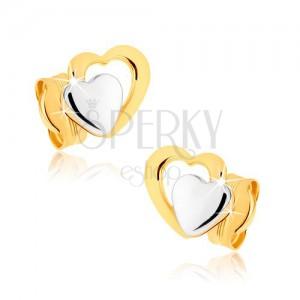 Puzetové náušnice v 9K zlate - dvojfarebné súmerné srdiečka, ródiované