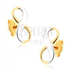Dvojfarebné zlaté náušnice 375 - lesklý symbol nekonečna, ródiované