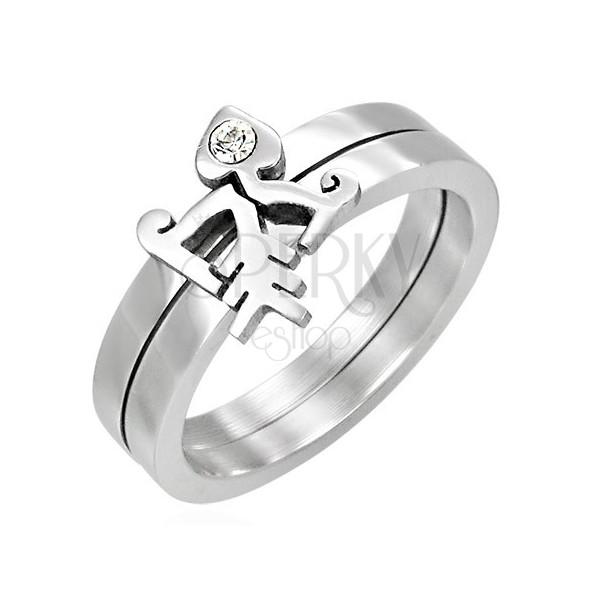 Zdvojený prsteň so zirkónom - Fishbone