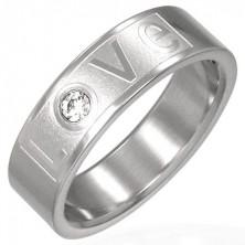 Prsteň z ocele - LOVE so zirkónom