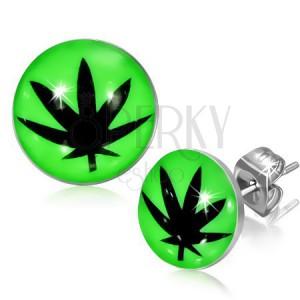 Puzetové náušnice z ocele, glazúra, čierny lístok marihuany, zelené pozadie