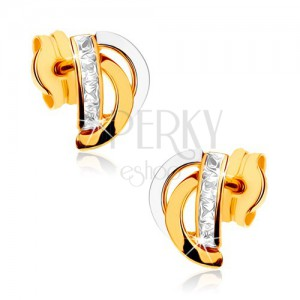 Zlaté náušnice 375 - dvojfarebné oblúčiky, zvislá zirkónová línia