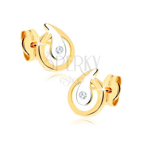 Náušnice v 9K zlate - obrys kvapky s čírym ligotavým zirkónom, dvojfarebné