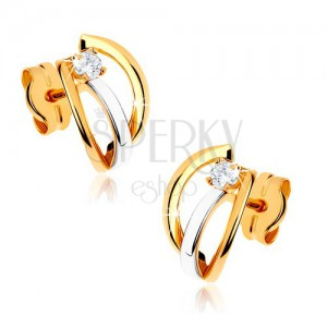 Dvojfarebné zlaté náušnice 375 - tri lesklé oblúčiky, kamienok čírej farby