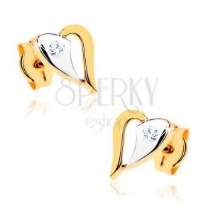 Náušnice v 9K zlate - ligotavý dvojfarebný obrys srdiečka, číry kamienok