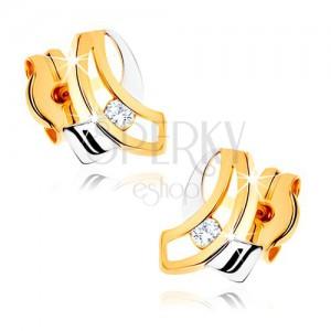Dvojfarebné zlaté náušnice 375 - dve pretínajúce sa zahnuté línie, číry zirkón